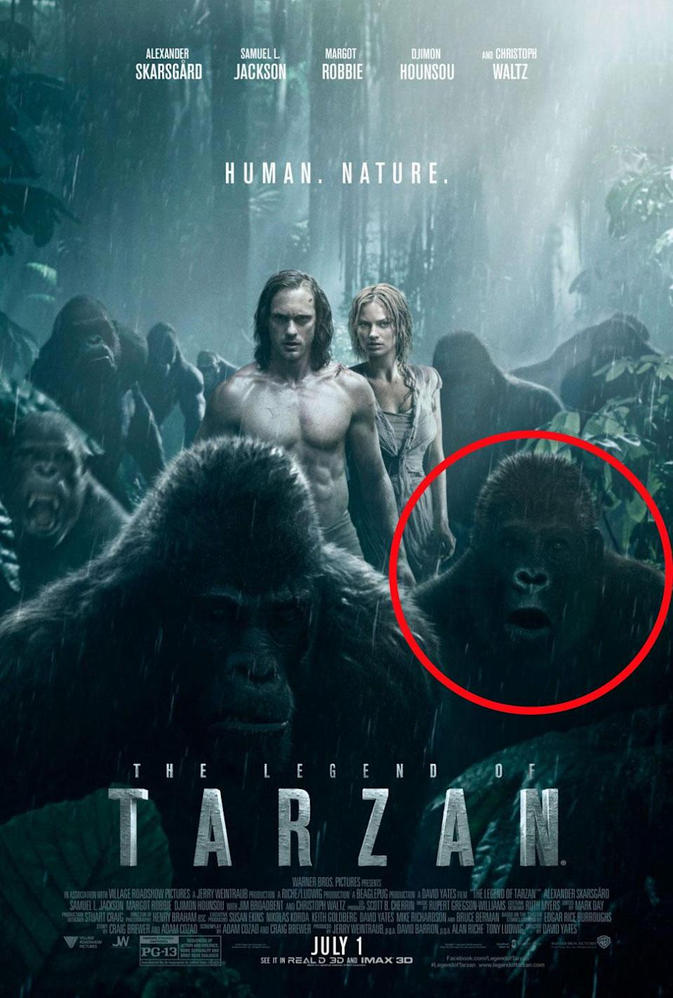 <p>How did this gormless ape slip through the net and end up on the movie poster? (Credit: Warner Bros.) </p>