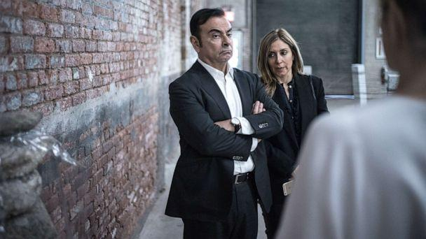 PHOTO: Carlos Ghosn, chairman of Renault SAS, Nissan Motor Co., and Mitsubishi Motors Corp., left, and his wife Carole Nahas view artwork at the DIA Art Foundation in New York, May 6, 2017. (Misha Friedman/Bloomberg via Getty Images)