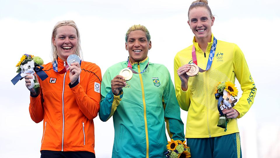 Sharon van Rouwendaal, Ana Marcela Cunha and Kareena Lee, pictured here with their medals after the marathon swim at the Olympics.