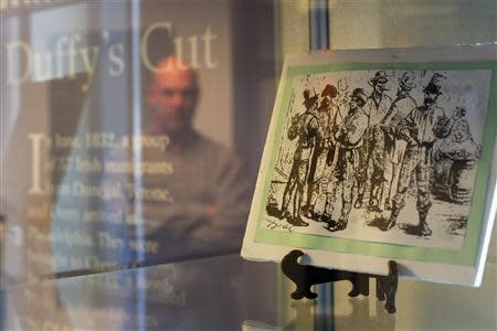An exhibit at the museum of Duffy's Cut at Immaculata College in Malvern