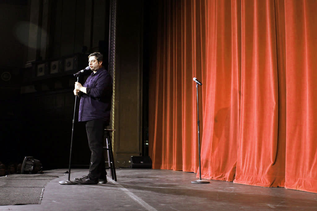 "Cast member Eugene Mirman performs during ""Bob's Burgers Live!""  at the WIlshire Ebell Theatre on Tuesday, May 7 in Los Angeles, CA."