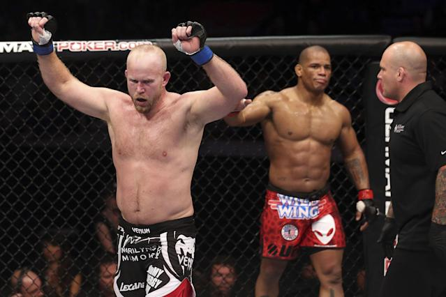 Tim Boetsch celebrates after three rounds fighting against Hector Lombard during their middleweight bout at UFC 149 inside the Scotiabank Saddledome on July 21, 2012 in Calgary, Alberta, Canada. (Photo by Nick Laham/Zuffa LLC/Zuffa LLC via Getty Images)
