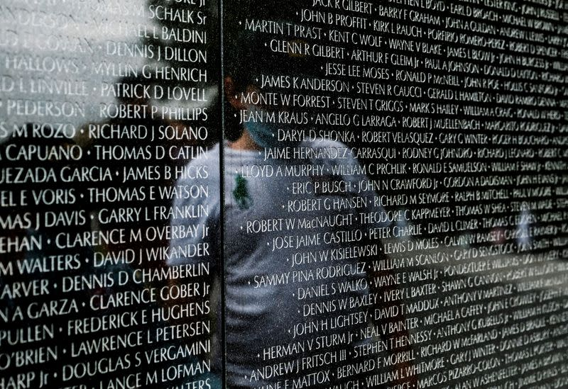 Members of the public visit the Vietnam Veterans Memorial on Memorial Day holiday in Washington