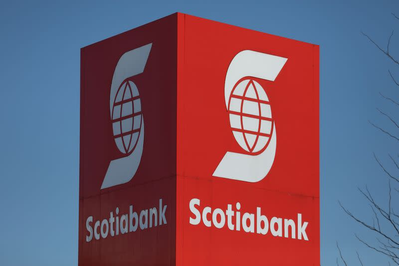 FILE PHOTO: A Bank of Nova Scotia logo is seen outside of a branch in Ottawa