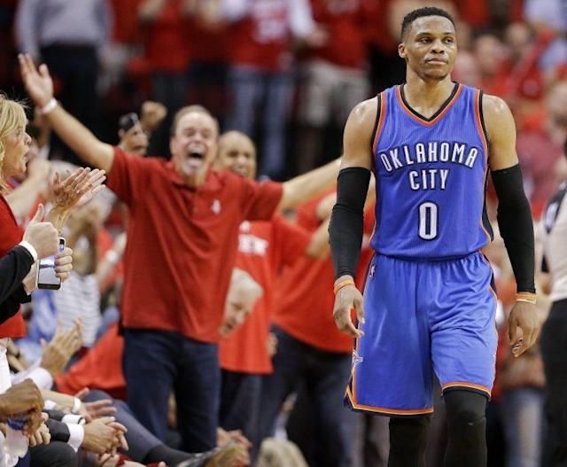 """<a class=""""link rapid-noclick-resp"""" href=""""/nba/players/4390/"""" data-ylk=""""slk:Russell Westbrook"""">Russell Westbrook</a>'s unprecedented numbers took a backseat to a number of late mistakes. (AP)"""