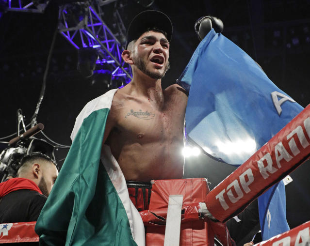 Junior welterweight Alex Saucedo after defeating Leonardo Zappavigna at Chesapeake Energy Arena on June 30, 2018 in Oklahoma City, Oklahoma. (Photo by Brett Deering/Getty Images)