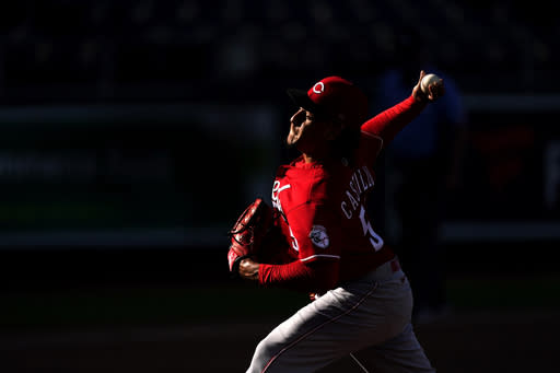 Cincinnati Reds starting pitcher Luis Castillo throws during the fourth inning of game one of a baseball double-header against the Kansas City Royals Wednesday, Aug. 19, 2020, in Kansas City, Mo. (AP Photo/Charlie Riedel)