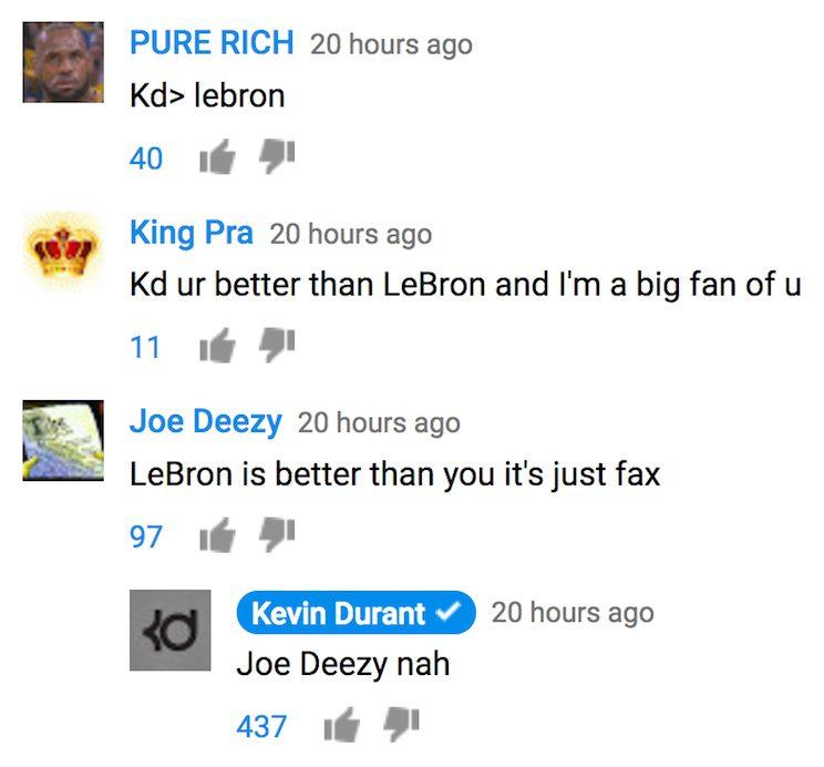 Kevin Durant does not stand for your spelling mistakes. (YouTube)