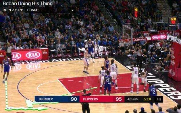 Coach mode in CourtVision includes a real-time diagram of a play as it unfolds.