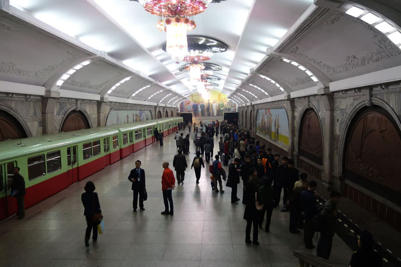 <p><i>During the seven-day tour, Jacob visited the Pyongyang Metro, which is the deepest in the world.</i></p>