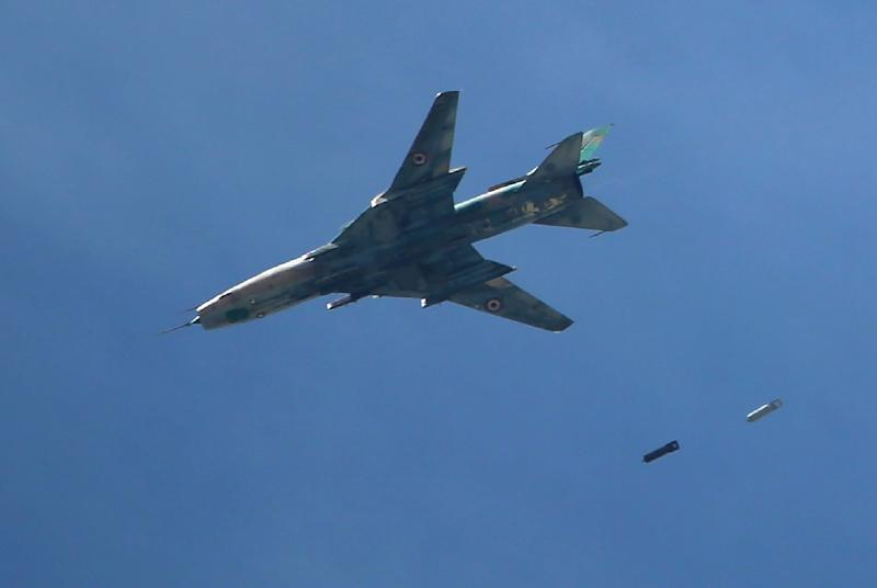 Syria's air force has responded to the latest assault with raids on opposition positions (AFP Photo/AMER ALMOHIBANY)