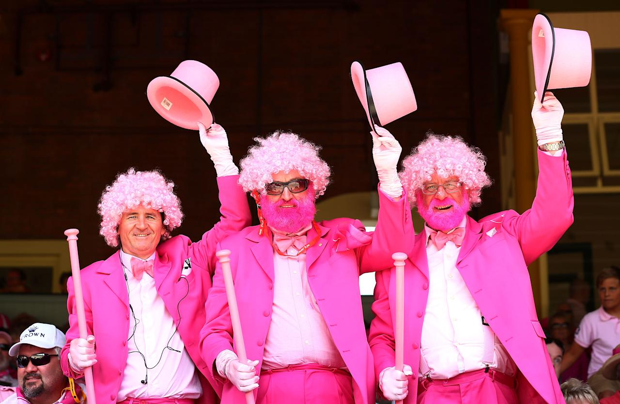 SYDNEY, AUSTRALIA - JANUARY 05:  Fans wears pink during day three of the Fifth Ashes Test match between Australia and England at Sydney Cricket Ground on January 5, 2014 in Sydney, Australia.  (Photo by Matt King/Getty Images)