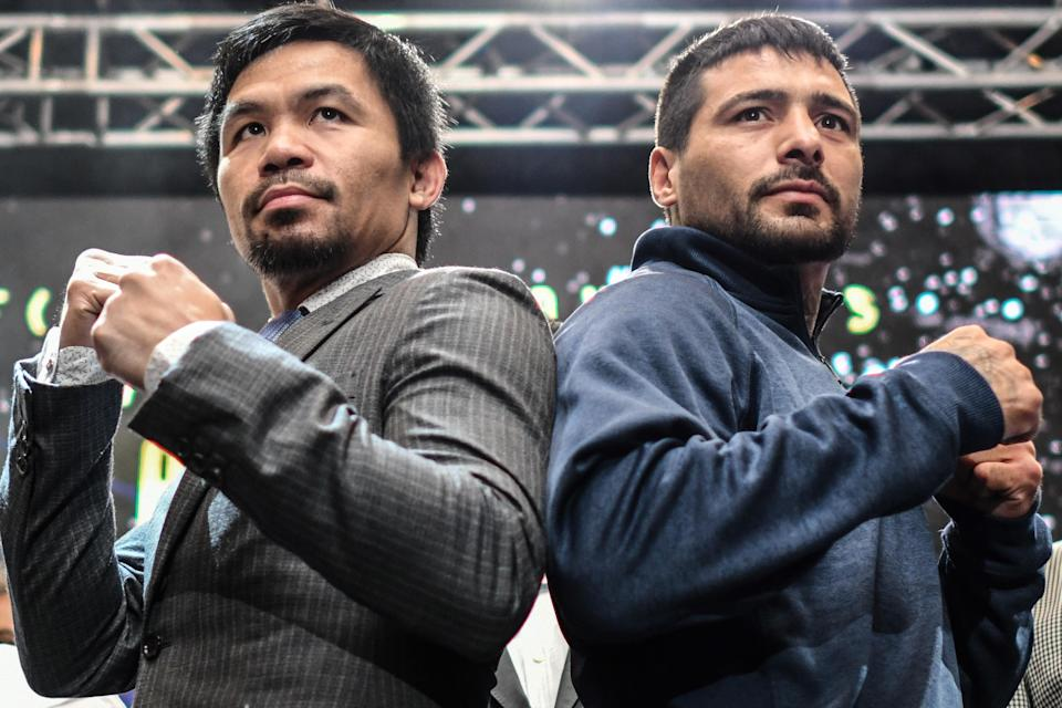 Manny Pacquiao (L) and Lucas Matthysse will fight for the WBA welterweight title in Kuala Lumpur, Malaysia, on July 14 U.S. time. (Getty Images)