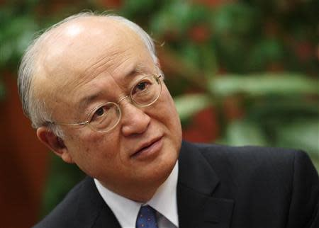 Amano, director general of the International Atomic Energy Agency IAEA, talks during an interview with Reuters in Vienna