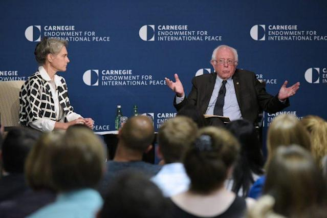 Sen. Bernie Sanders, I-Vt., speaks with Sarah Chayes, senior fellow at CEIP's Democracy and Rule of Law Program, on threats to democracy at the Carnegie Endowment for International Peace on June 22, 2017, in Washington, D.C. (Photo: Mandel NganAFP/Getty Images)
