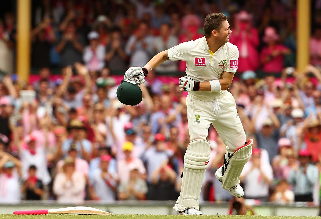 SYDNEY, AUSTRALIA - JANUARY 05:  Michael Clarke of Australia celebrates his triple century during day three of the Second Test Match between Australia and India at Sydney Cricket Ground on January 5, 2012 in Sydney, Australia.  (Photo by Mark Nolan/Getty Images)