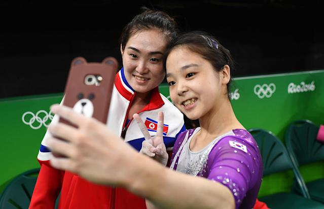 <p>For all the controversy surrounding the Rio de Janeiro Olympics, the power of the Games to connect and inspire is still unrivaled. And sometimes, the most impactful moments can come away from competition, like when gymnasts Lee Eun-ju of South Korea and Hong Un-Jong of North Korea came together to take a selfie. (REUTERS/Dylan Martinez) </p>