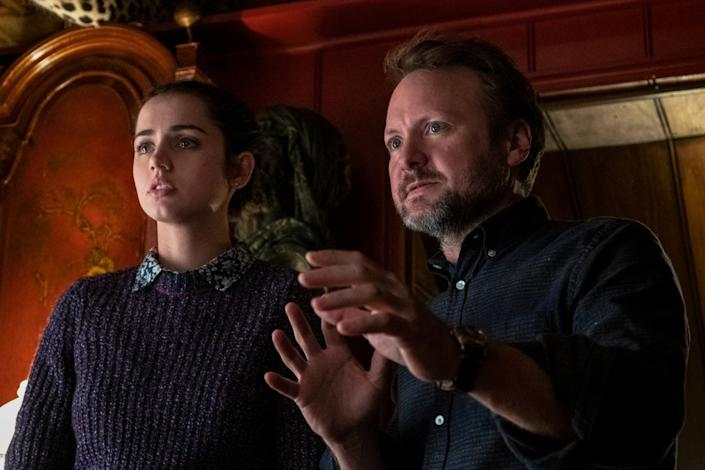 "Actress Ana de Armas and director Rian Johnson at work on ""Knives Out."" <span class=""copyright"">(Claire Folger / Lionsgate)</span>"