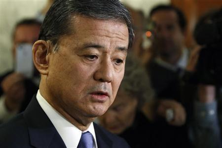 Shinseki addresses reporters after testifying before a Senate Veterans Affairs Committee hearing on VA health care, on Capitol Hill in Washington