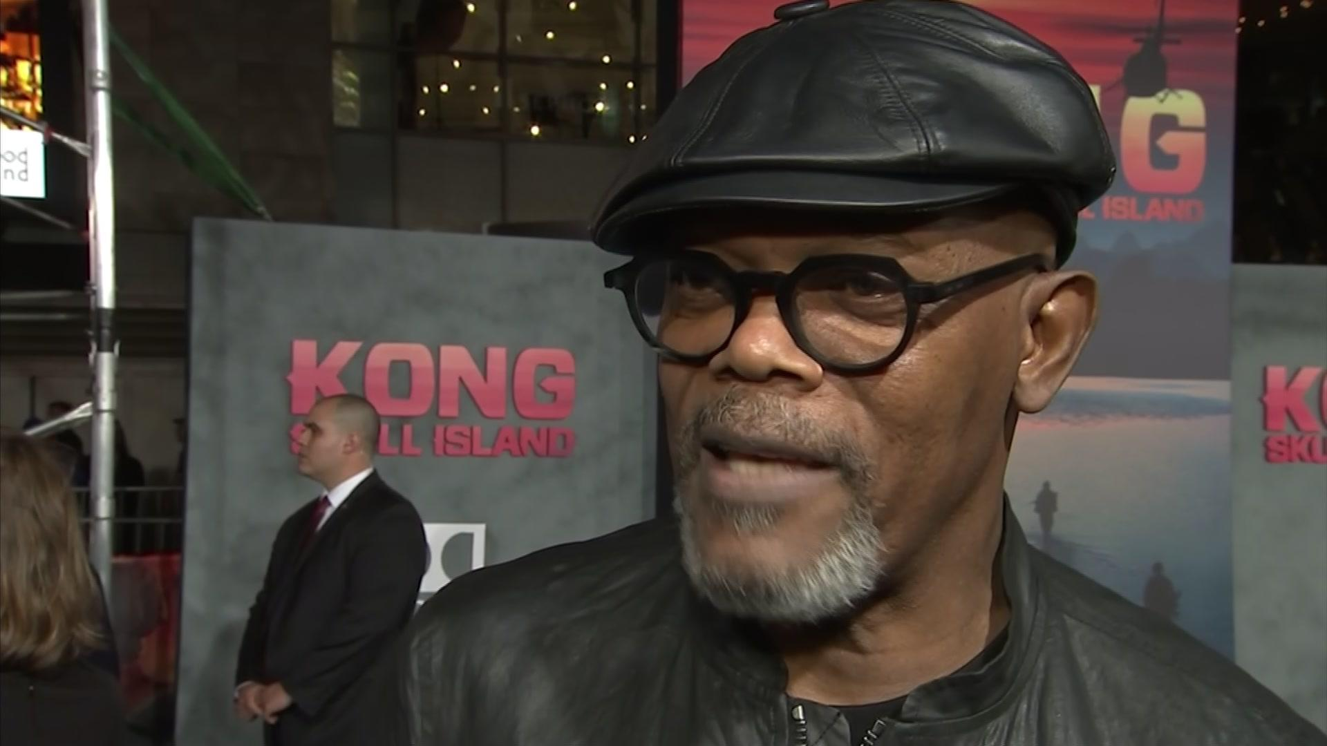 Samuel L Jackson talking at the Kong: Skull Island premiere (AP)