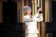 Jane Fonda accepts the Cecil B. DeMille Award in this handout photo from the 78th Annual Golden Globe Awards in Beverly Hills