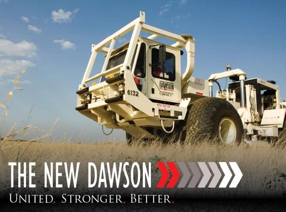 A mobile seismic equipment vehicle on an open prairie under a blue sky, with caption The New Dawson, United, Stronger, Better.
