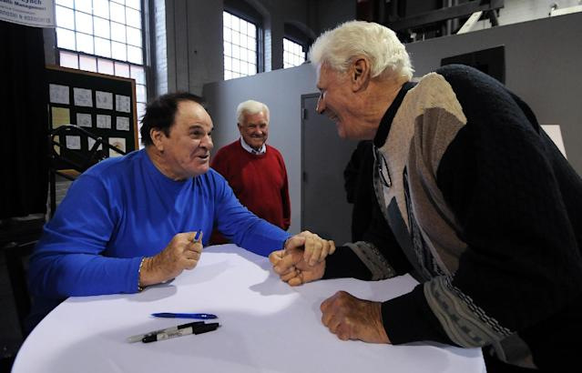 Former Philadelphia Phillies baseball player Pete Rose, left, and former Phillies manager and player Dallas Green share a laugh during the 3rd annual Party with the Pros on Saturday, March 29, 2014 at The Electric City Trolley Museum in Scranton, Pa. (AP Photo / The Scranton Times-Tribune, Butch Comegys) WILKES BARRE TIMES-LEADER OUT; MANDATORY CREDIT