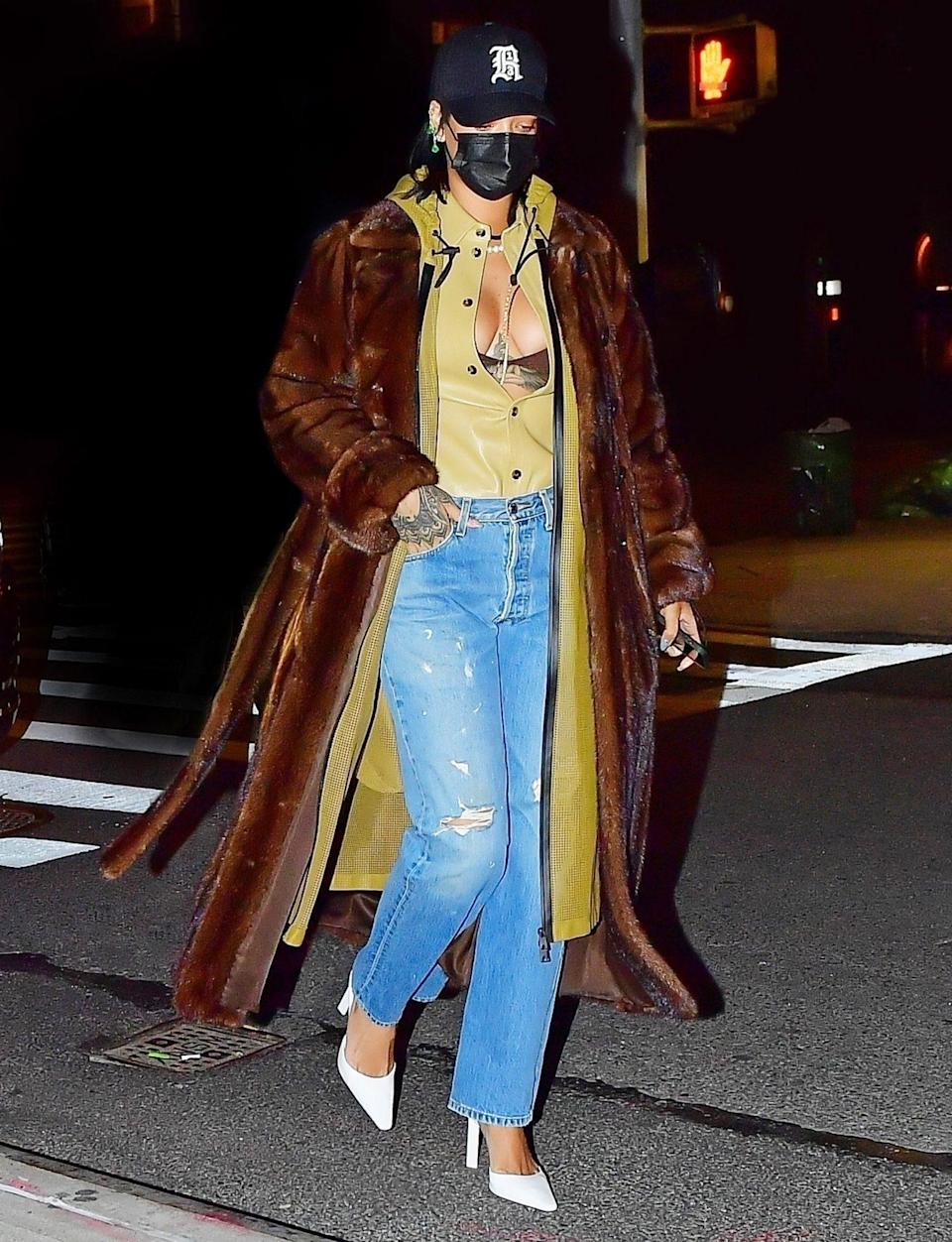 <p>Rihanna shows off her supercool street style while en route to dinner with boyfriend A$AP Rocky and friends (not pictured) in New York City on Wednesday night.</p>
