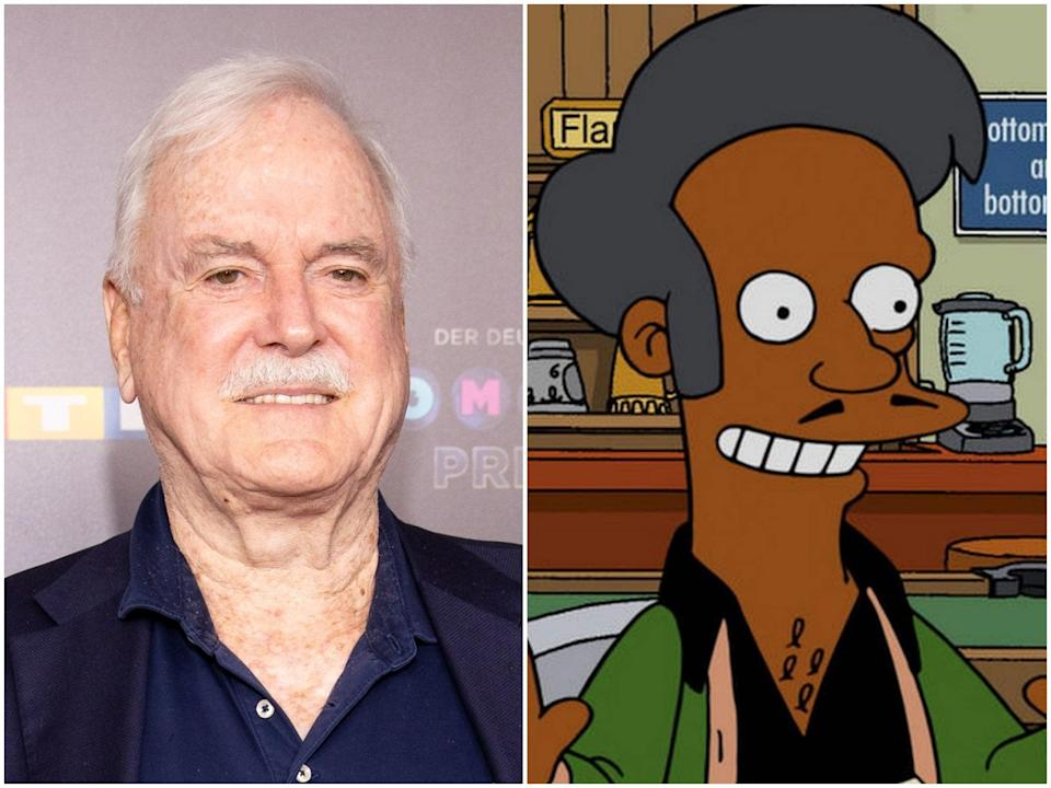 John Cleese and the Simpsons character Apu (Joshua Sammer/Getty Images/Fox)