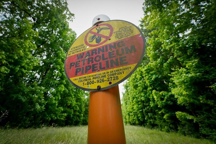 A ransomware attack on the Colonial Pipeline Co. has raised awareness that cyber assaults could have serious consequences. A sign marking the location of the Colonial Pipeline is posted in Charlotte, N.C.