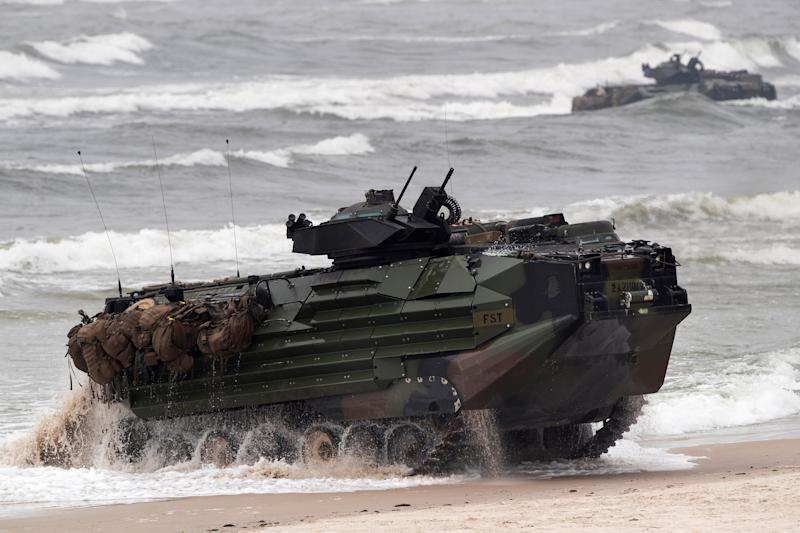A U.S. Marine Amphibious Assault Vehicle (AAV) takes part in a landing operation during a military Exercise Baltops 2018.