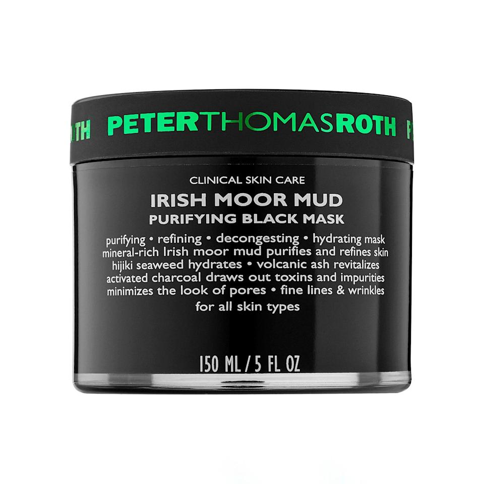 """<p>Not all mud masks are created equal. Case in point: Peter Thomas Roth's Irish Moor Mud Purifying Black Mask doesn't leave your complexion feeling the least bit parched, so if you're looking for a mask that will decongest skin without drying it out, look no further.</p> <p><strong>$60</strong> (<a href=""""https://shop-links.co/1649919658526170033"""" rel=""""nofollow noopener"""" target=""""_blank"""" data-ylk=""""slk:Shop Now"""" class=""""link rapid-noclick-resp"""">Shop Now</a>)</p>"""