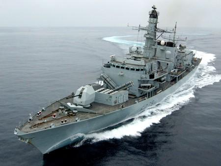 Royal Navy Type 23 frigate HMS Montrose performs a series of tight turns off Oman