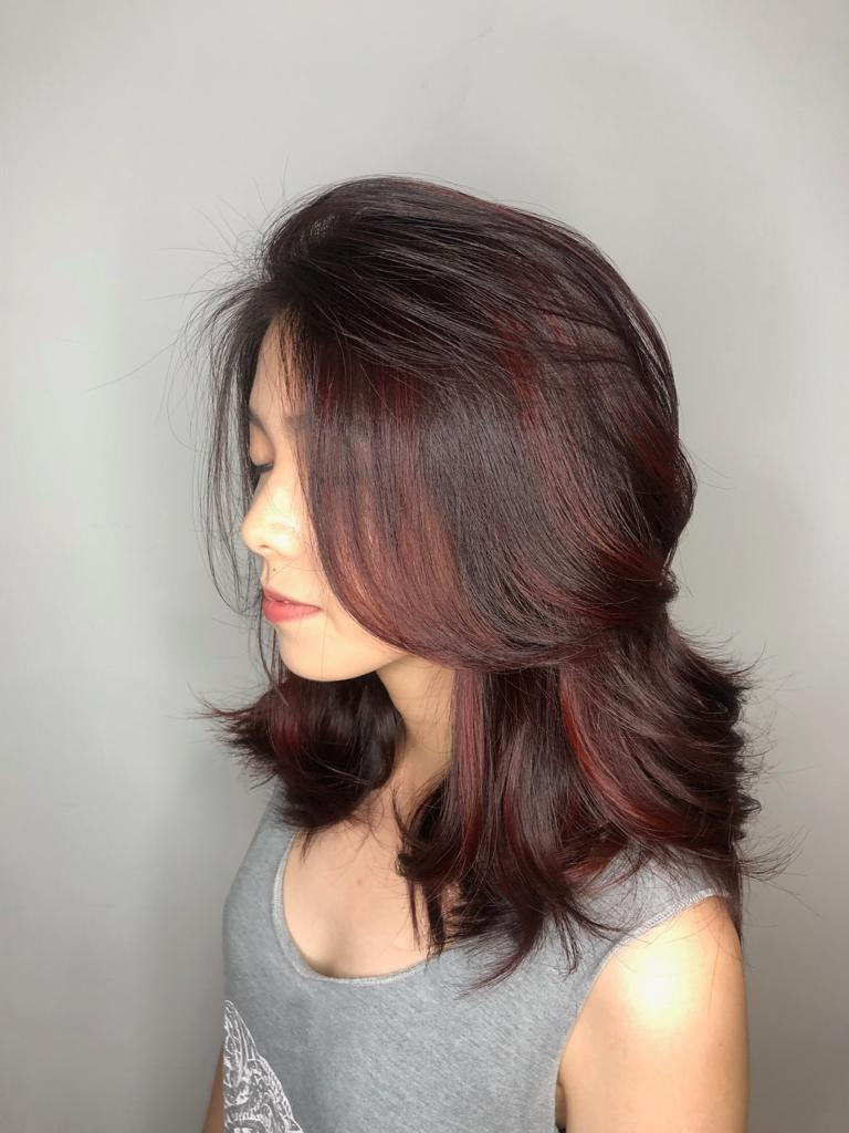 Red Higlights by No. 8 Hair Studio @ Jurong East