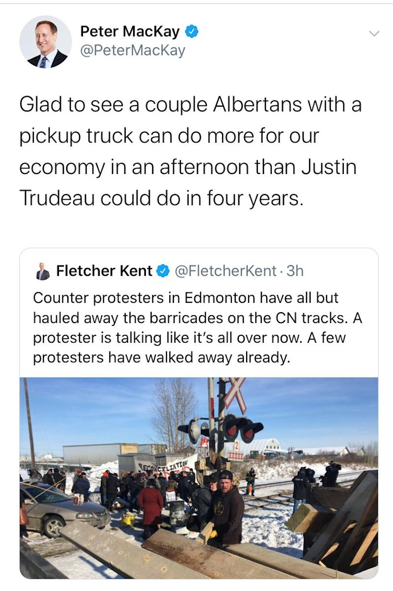 A screengrab of a deleted tweet from Conservative leadership hopeful Peter MacKay posted on Feb. 19, 2020. (Photo: HuffPost Canada)