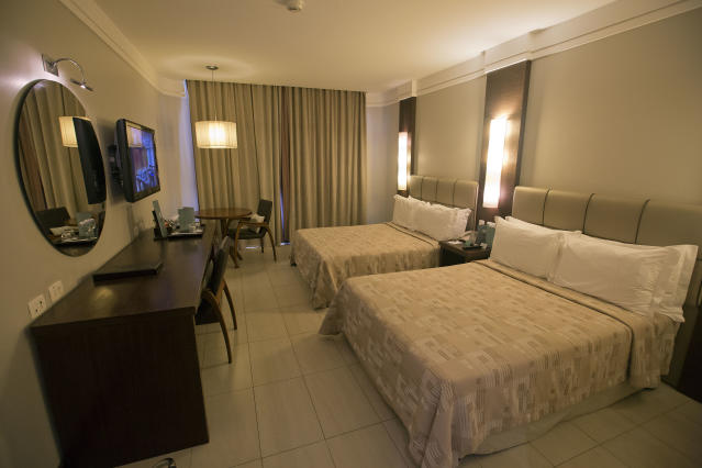 A view of a room at the Parque Balneario Hotel where Mexico's 2014 World Cup team will stay during the World Cup in Santos, Brazil, Wednesday, Feb. 12, 2014. (AP Photo/Andre Penner)