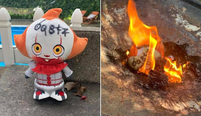"""A New Jersey woman was so unnerved by a Pennywise the Dancing Clown doll, from Stephen King's """"It,"""" that landed in her backyard, she set the doll on fire and slept with a knife under her pillow. (Photo: Renee Jensen)"""