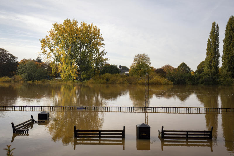 A general view in Worcester, after Britain has been hit by widespread flooding after rivers burst their banks following the weekend's heavy rain, Monday, Oct. 28, 2019. (Jacob King/PA via AP)
