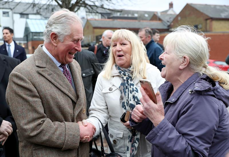 The Prince of Wales meets residents and businesses affected by recent floods, and to meet those involved in the rescue and support effortd uring a visit to Pontypridd, Wales, which has suffered from severe flooding in the wake of Storm Dennis.