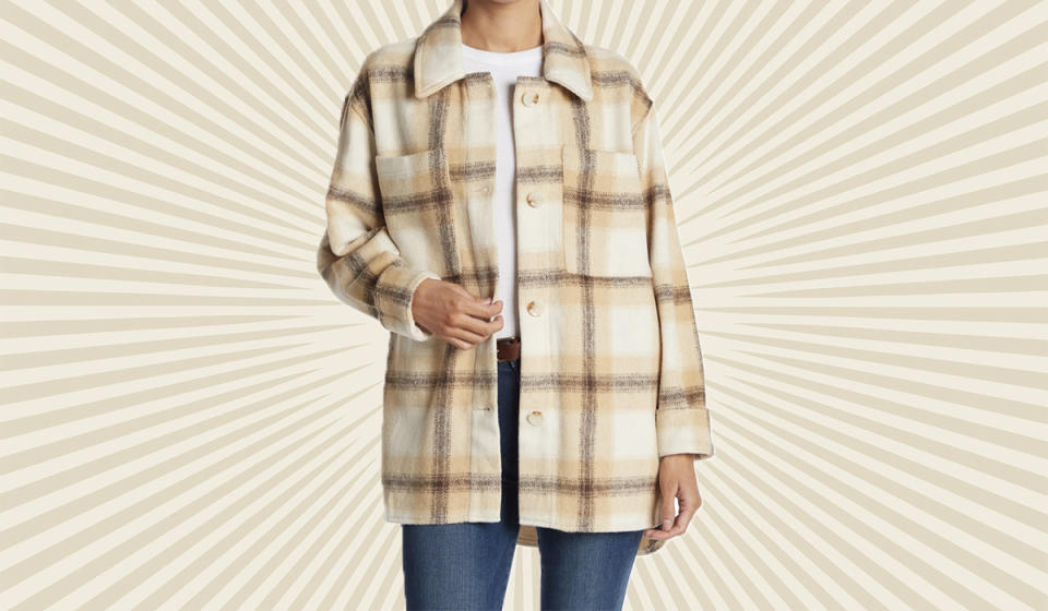 Your weekend flannel in oversize plaid — comfy and on trend. (Photo: Nordstrom Rack)