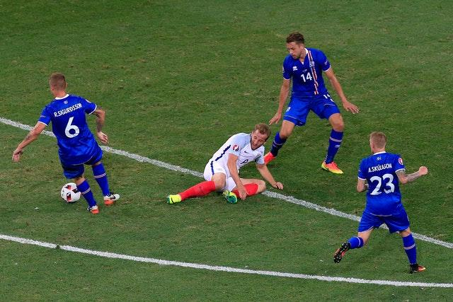 Harry Kane, centre, during the 2-1 defeat against Iceland at Euro 2016