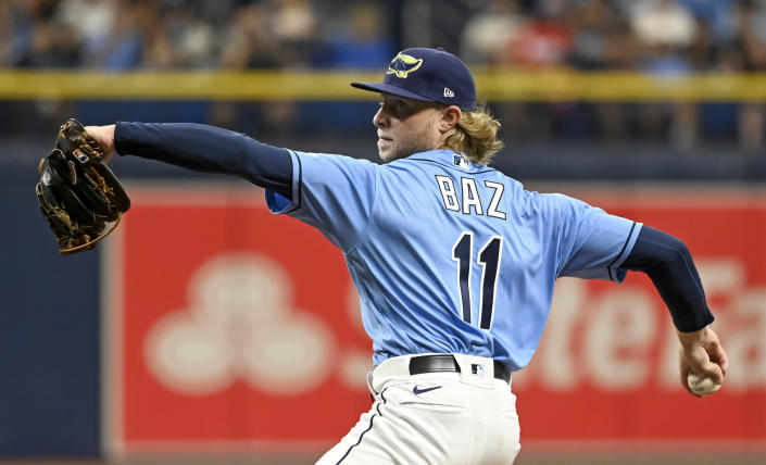 Tampa Bay Rays starter Shane Baz pitches against the Miami Marlins during the sixth inning of a baseball game Sunday, Sept. 26, 2021, in St. Petersburg, Fla. (AP Photo/Steve Nesius)