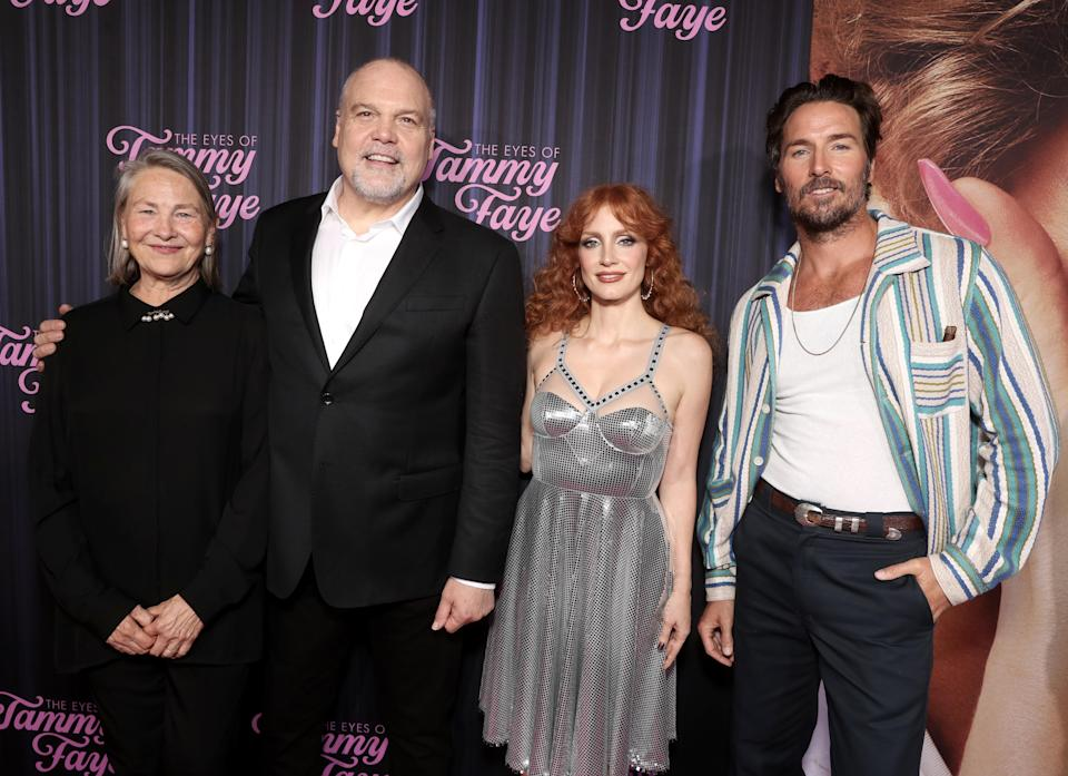 """Cherry Jones, from left, Vincent D'Onofrio, Jessica Chastain and Mark Wystrach attend Searchlight Picture's """"The Eyes of Tammy Faye"""" New York Premiere on Tuesday, September 14, 2021. - Credit: Todd Williamson/January Images"""