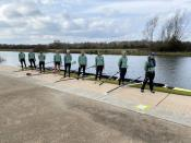 Cambridge University rowers prepare for the annual boat race against Oxford in Ely