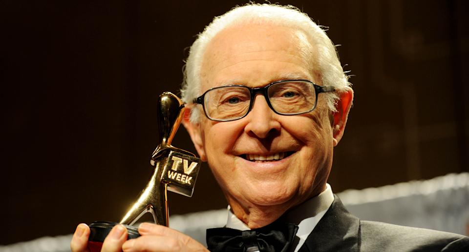Brian Henderson is inducted into the Logies Hall of Fame at the 2013 Logie Awards in Melbourne, Sunday, April 7, 2013. Source: AAP