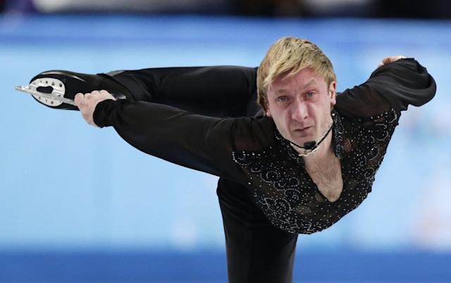 Evgeni Plushenko of Russia competes in the men's team free skate figure skating competition at the Iceberg Skating Palace during the 2014 Winter Olympics, Sunday, Feb. 9, 2014, in Sochi, Russia. (AP Photo/Bernat Armangue)