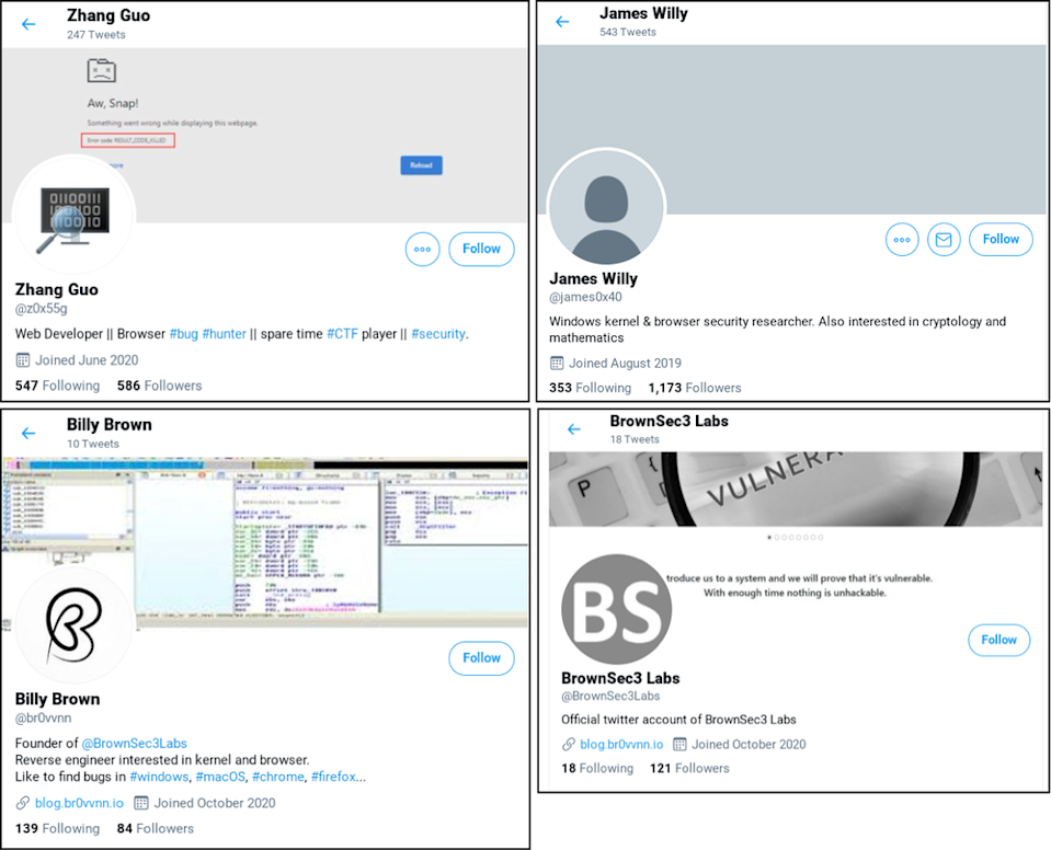 Examples of fake accounts used by hackers