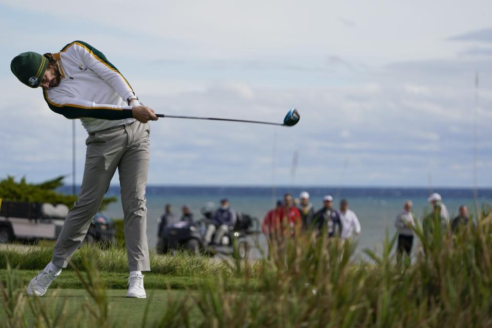 Team Europe's Tommy Fleetwood hits a drive on the second hole during a practice day at the Ryder Cup at the Whistling Straits Golf Course Wednesday, Sept. 22, 2021, in Sheboygan, Wis. (AP Photo/Jeff Roberson)