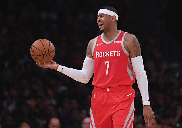 "Carmelo Anthony isn't happy about how things ended between him and the <a class=""link rapid-noclick-resp"" href=""/nba/teams/houston/"" data-ylk=""slk:Houston Rockets"">Houston Rockets</a>. (Photo by Harry How/Getty Images)"