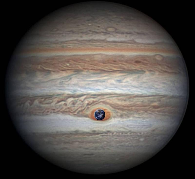 Measuring in at 10,159 miles (16,350 kilometers) in width (as of April 3, 2017) Jupiter's Great Red Spot is 1.3 times as wide as Earth. Image credit: NASA/JPL-Caltech/SwRI/MSSS/Christopher Go